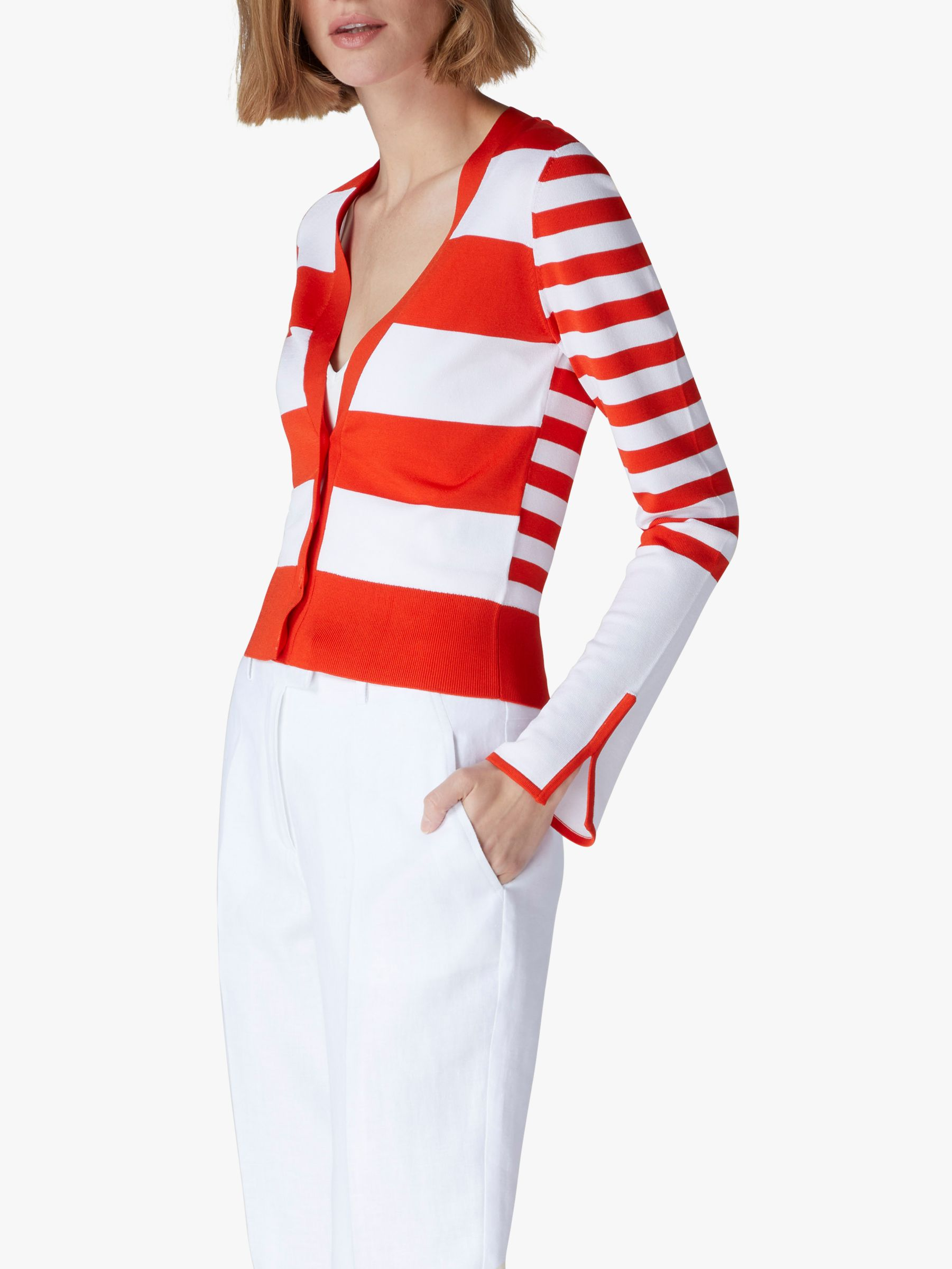 Jaeger Jaeger Stripe Cardigan, Red/White