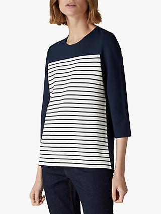 Jaeger Cut About Piped Jersey Top, Navy
