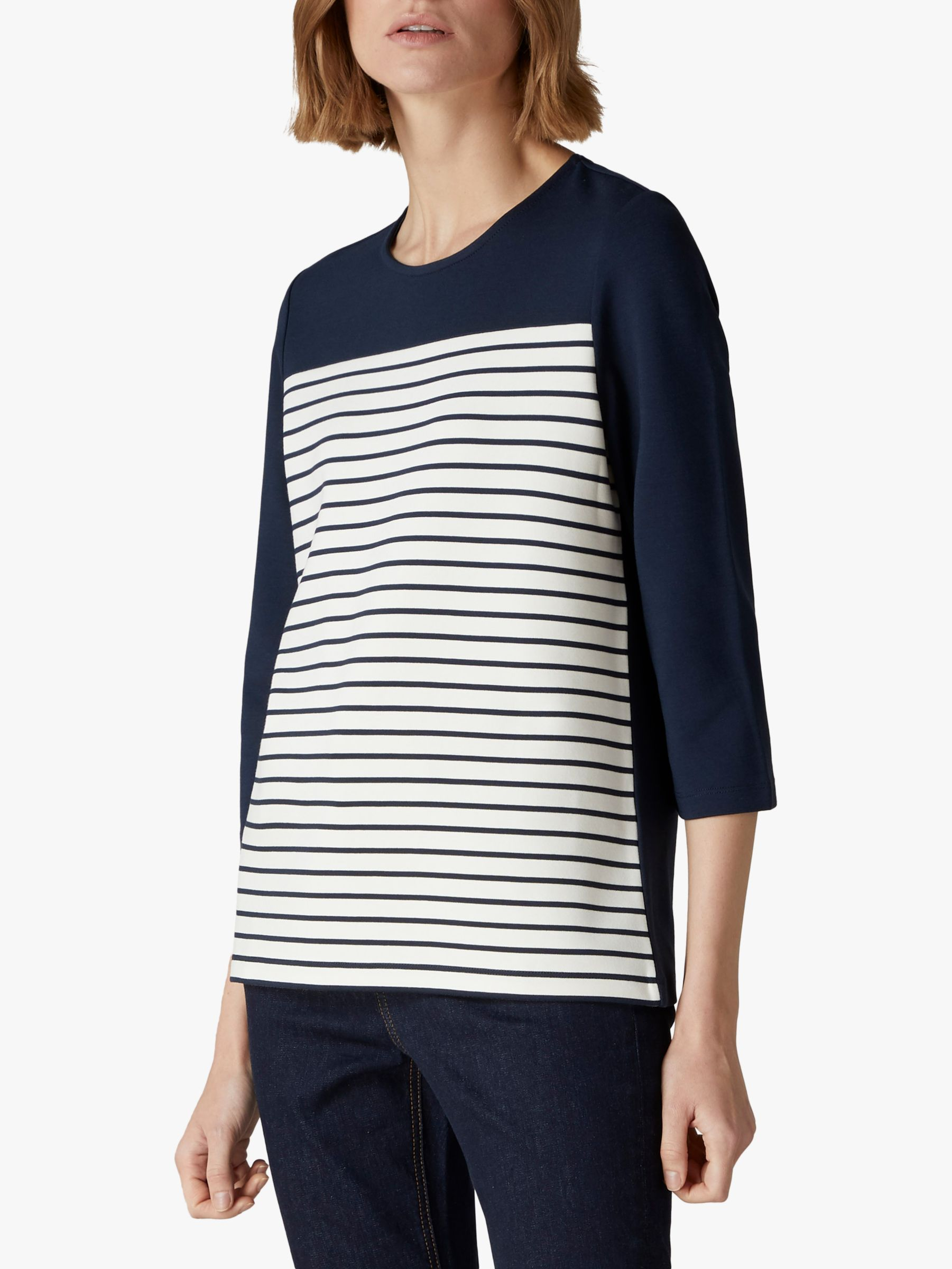 Jaeger Jaeger Cut About Piped Jersey Top, Navy
