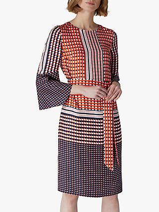 Jaeger Geometric Silk Flared Sleeve Dress, Red