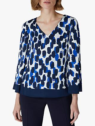 Jaeger Smudge Hem Top, Blue/White