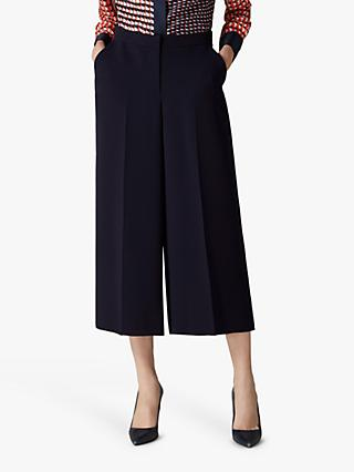 Jaeger Cropped Wide Leg Trousers, Navy