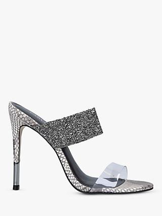 Carvela Ghost Jewel Studded Stiletto Heel Sandals, Grey
