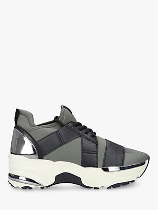 Carvela Lauryn Lace Up Flatform Trainers, Green Light