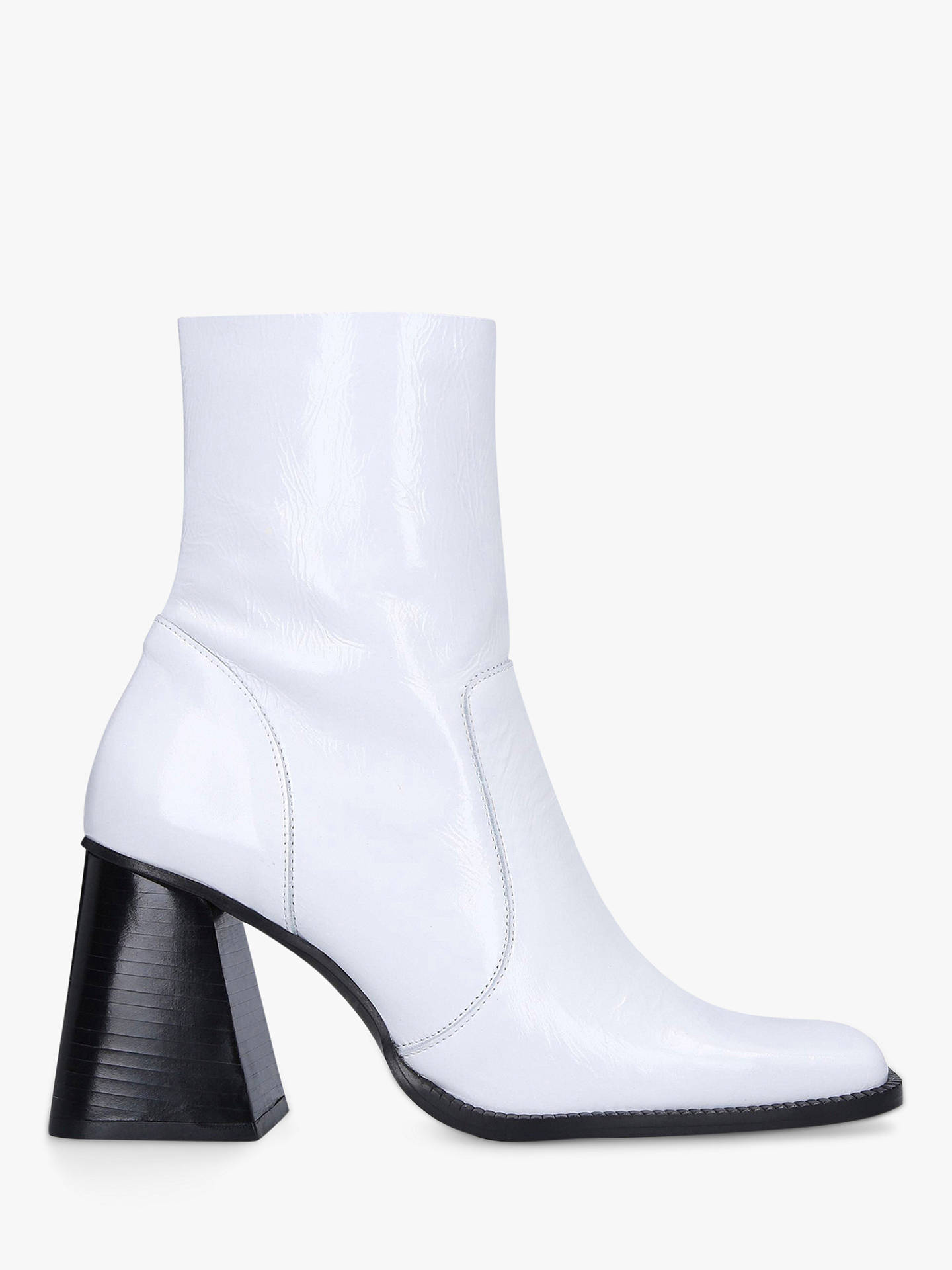 Buy Kurt Geiger London Selma Leather Square Heel Ankle Boots, White, 3 Online at johnlewis.com
