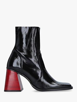 Kurt Geiger London Selma Leather Square Heel Ankle Boots, Black