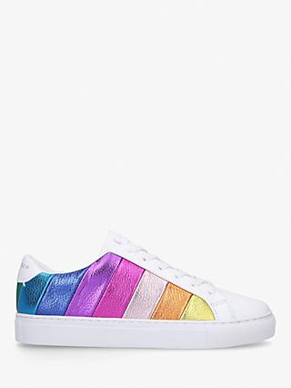 Kurt Geiger London Lane Stripe Lace Up Leather Trainers, White/Multi