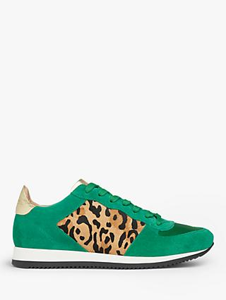 L.K.Bennett Ricky Calf Hair Suede Lace Up Trainers, Green/Multi