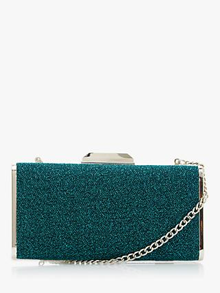 Dune Boxiee Metal Trim Clutch Bag, Teal