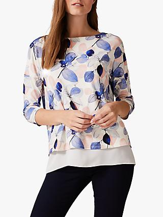 Phase Eight Laina Leaf Print Top, Soft Blue