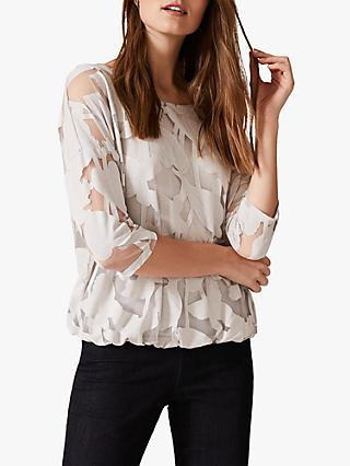 Phase Eight Reine Palm Bubble Hem Burnout Top, Ivory