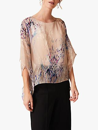 Phase Eight Pamina Silk Blouse, Nude Multi