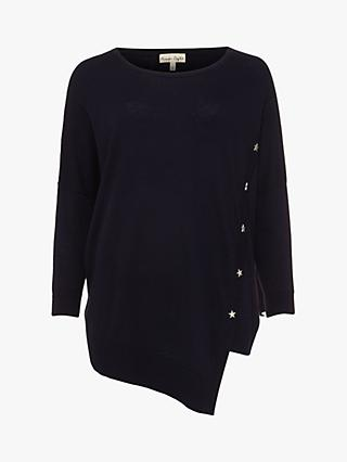 Phase Eight Sonny Star Button Asymmetric Hem Jumper, Navy