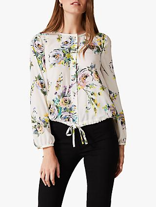 Phase Eight Franchesca Floral Top, Ivory/Multi