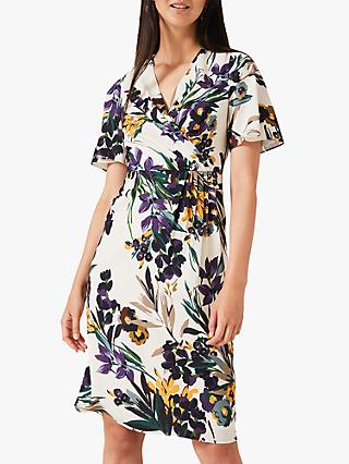 Phase Eight Adele Floral Wrap Dress, Cream/Multi