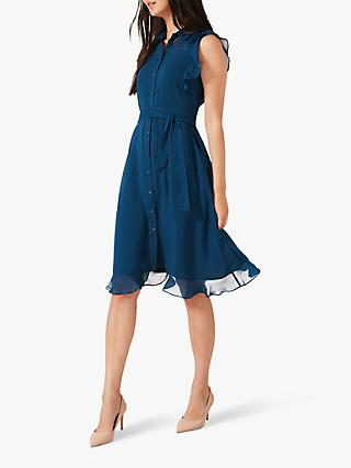 Phase Eight Riley Chiffon Dress, Petrol Blue