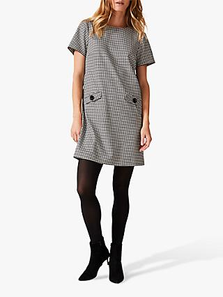 Phase Eight Ridley Dogtooth Dress, Black/Ivory