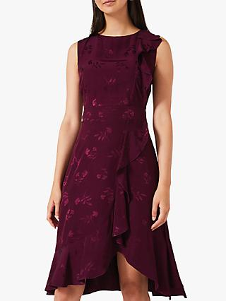 Phase Eight Reese Jacquard Frill Dress, Purple