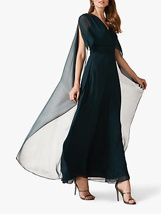 Phase Eight Arwen Silk Mix Drape Dress, Petrol Blue