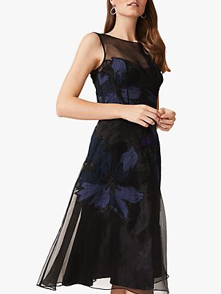 Phase Eight Simone Applique Floral Dress, Black/Evergreen