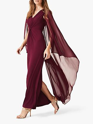 Phase Eight Edna Cape Maxi Dress, Berry Red