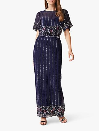 Phase Eight Doris Beaded Dress, Navy