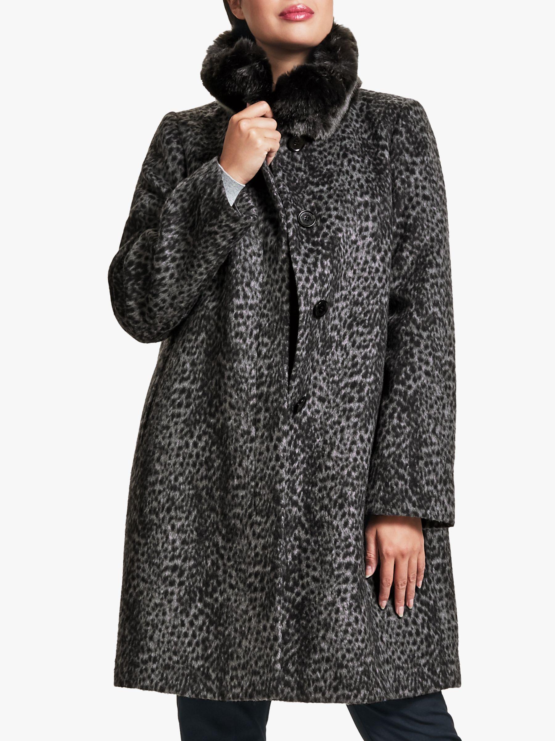 Four Seasons Four Seasons Petite Faux Fur Animal Print Coat, Grey