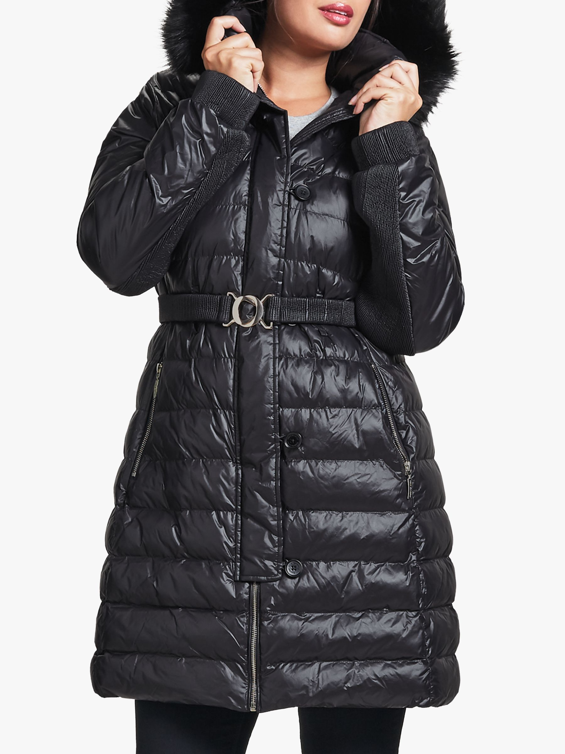 amazing selection online retailer various colors Four Seasons Belted Quilted Coat, Black