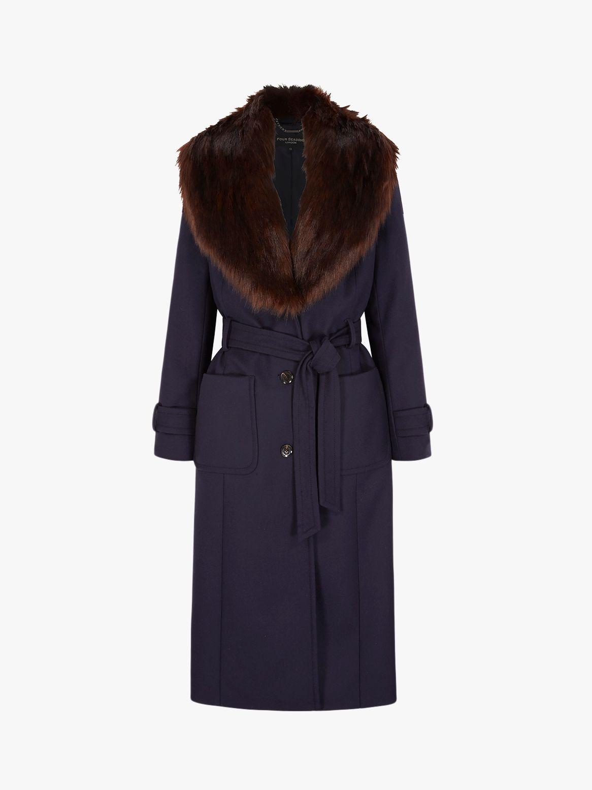 Four Seasons Four Seasons Faux Fur Collar Coat, Blue