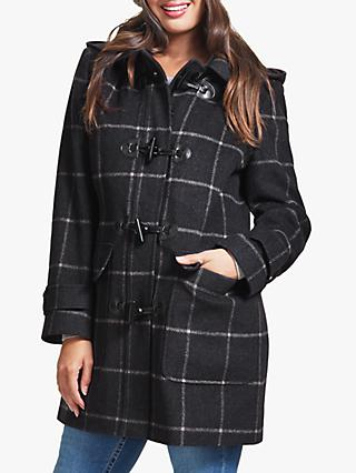 Four Seasons Check Duffle Coat, Dark Blue