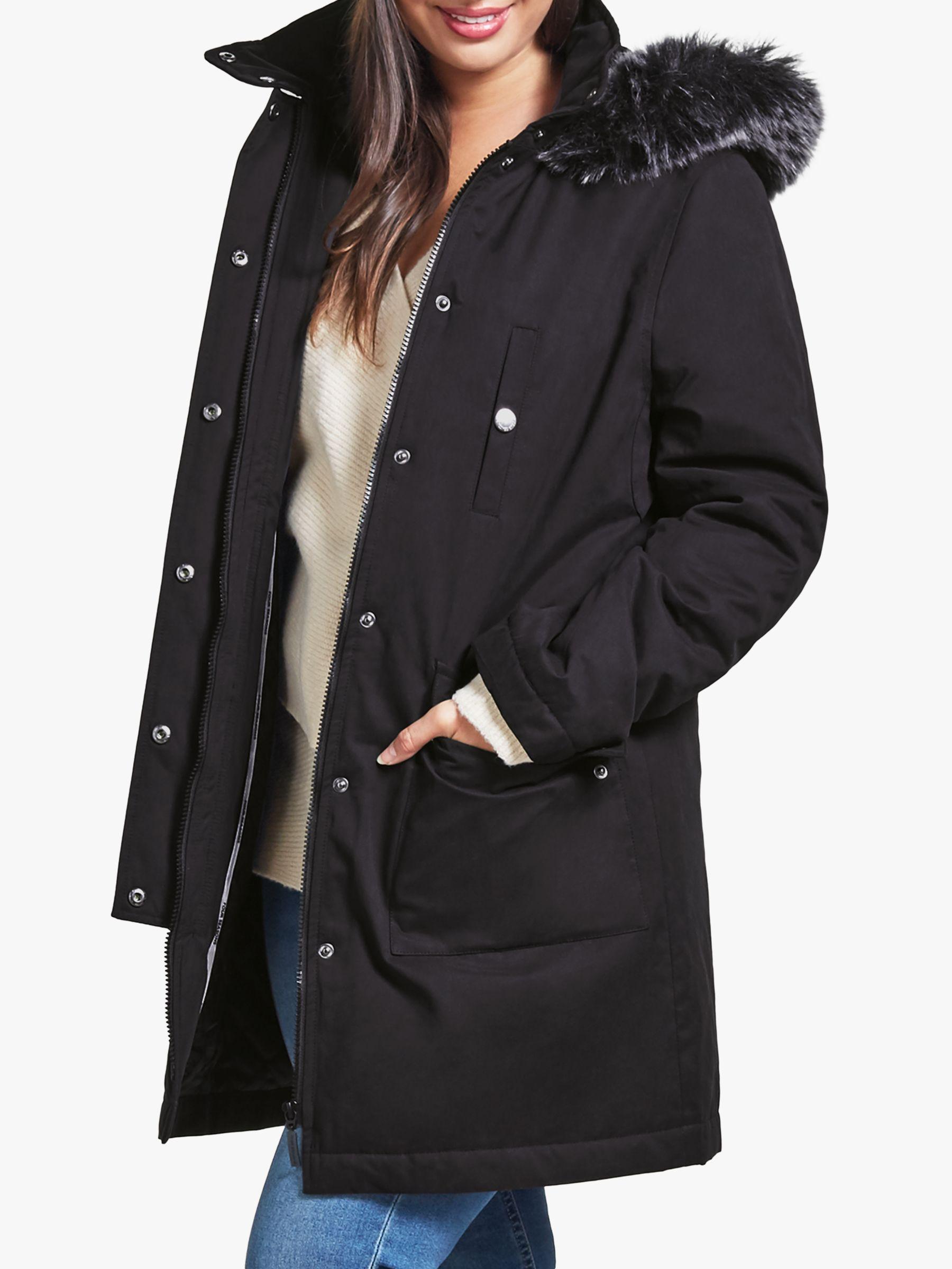 Four Seasons Four Seasons Caban Faux Fur Trim Coat