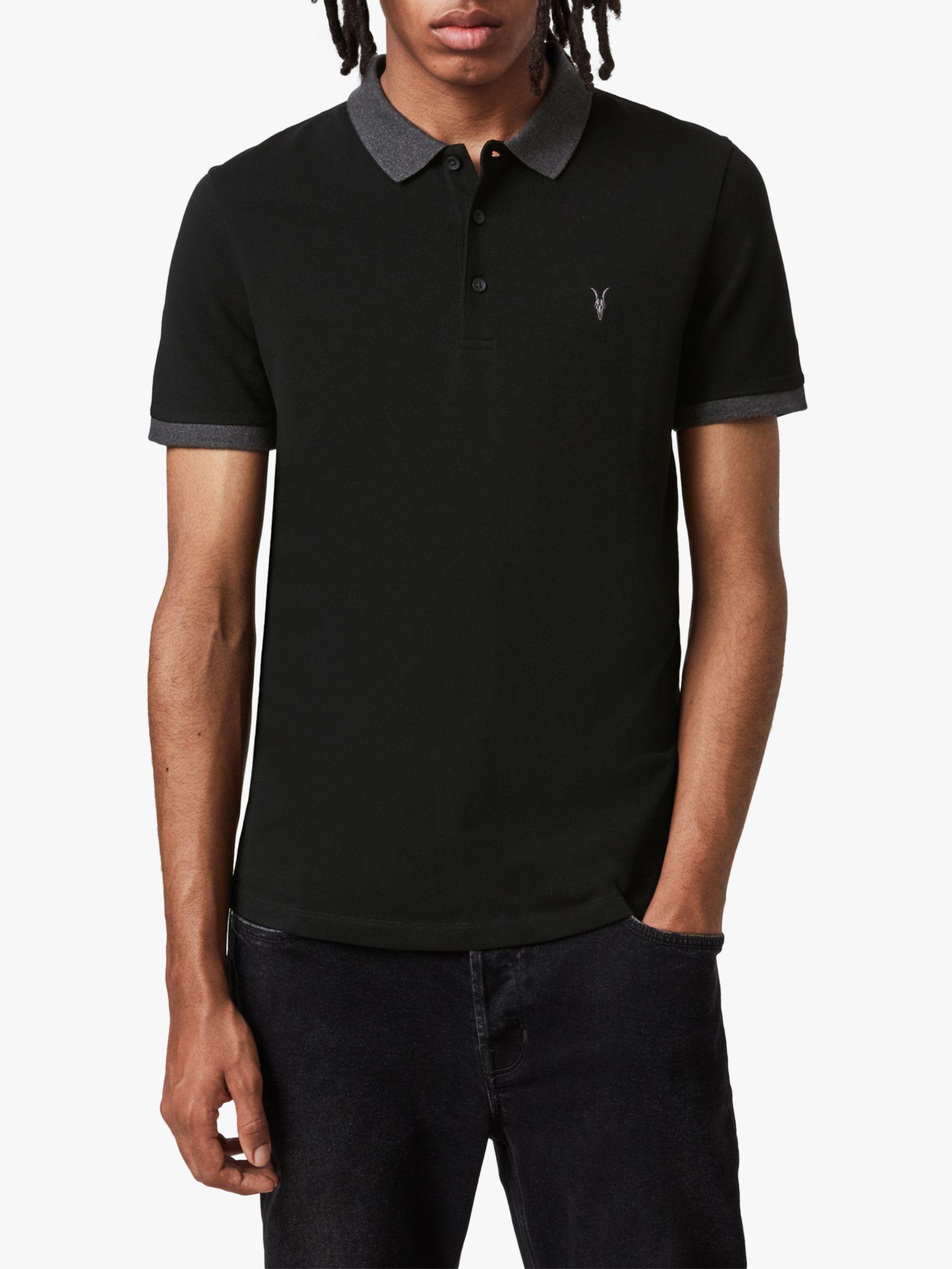 AllSaints AllSaints Orlando Contrast Short Sleeve Polo Shirt, Jet Black/Charcoal