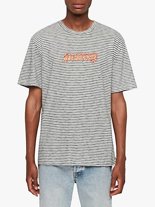 AllSaints Burner Stripe Crew T-Shirt, Chalk/Washed Black