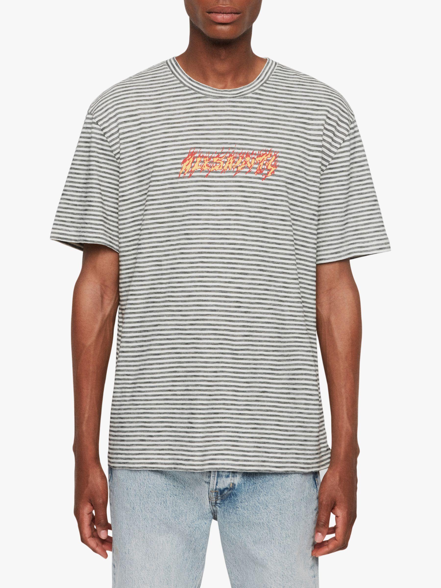 AllSaints AllSaints Burner Stripe Crew T-Shirt, Chalk/Washed Black