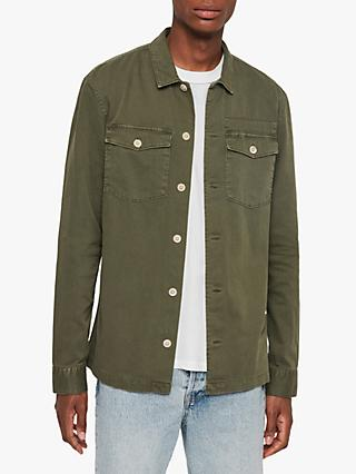 AllSaints Slim Fit Spotter Military Shirt, Thorn Green