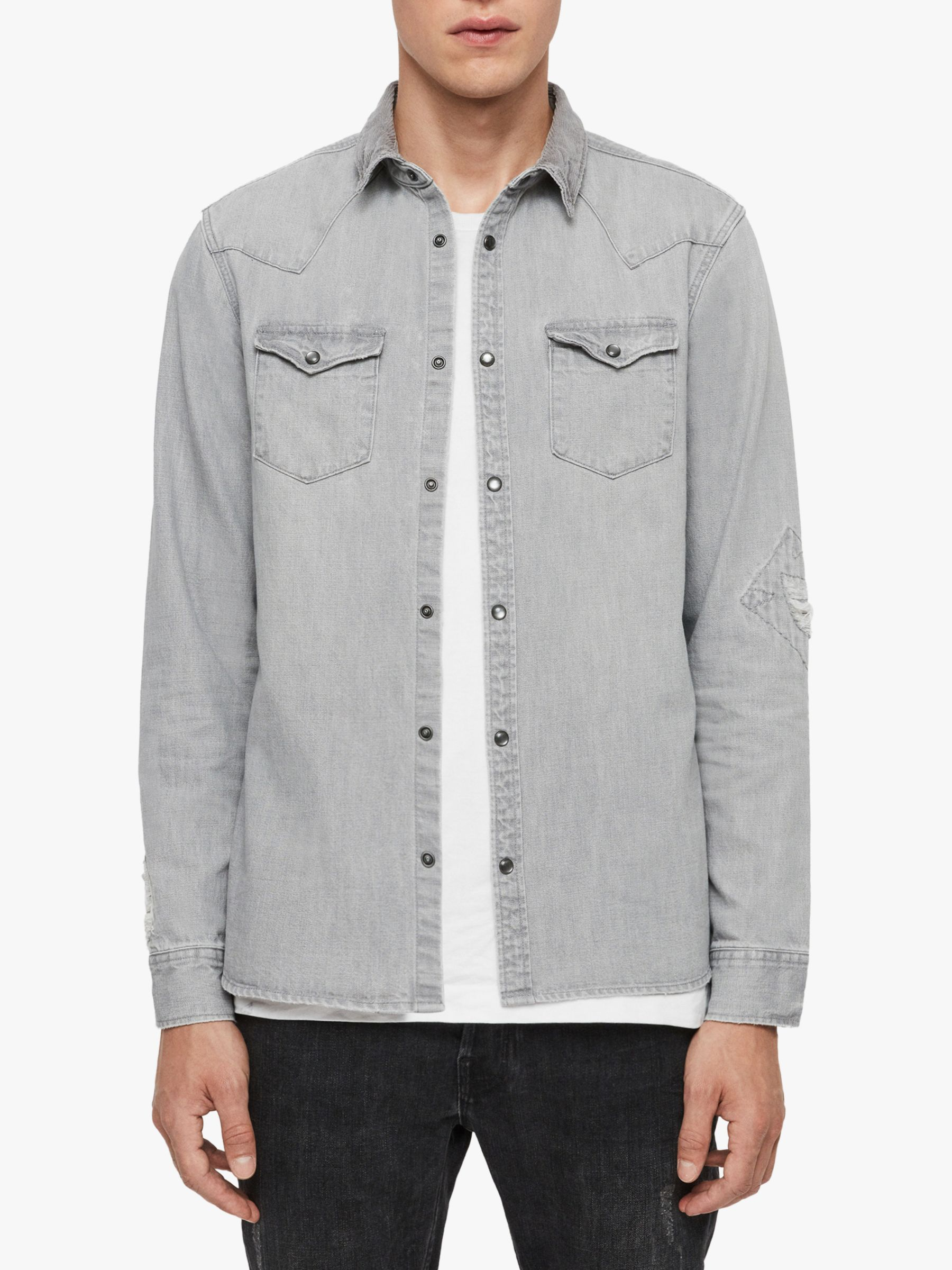 AllSaints AllSaints Giro Denim Shirt, Grey