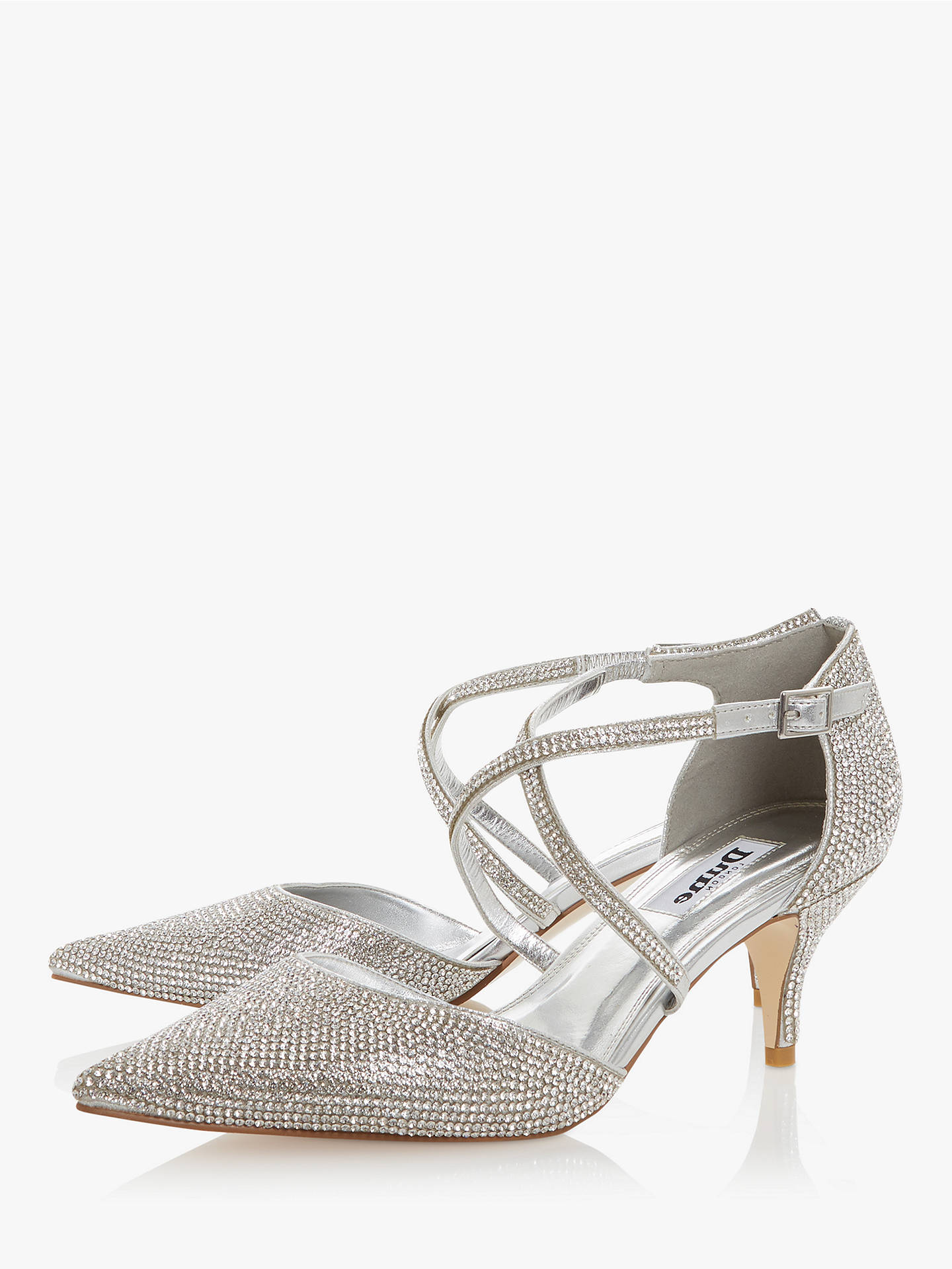 Buy Dune Captivated Embellished Pointed Toe Court Shoes, Silver, 5 Online at johnlewis.com