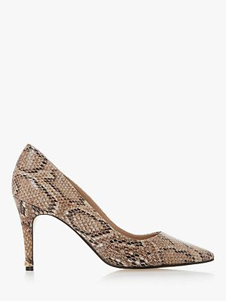 Dune Anna Leather Signature Heel Trim Court Shoes, Neutral Reptile