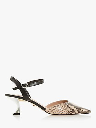 Dune Doriaa Leather Pointed Toe Slingback Shoes, Nude Reptile Print