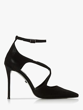 Dune Divaa Leather Cross Strap Court Shoes, Black