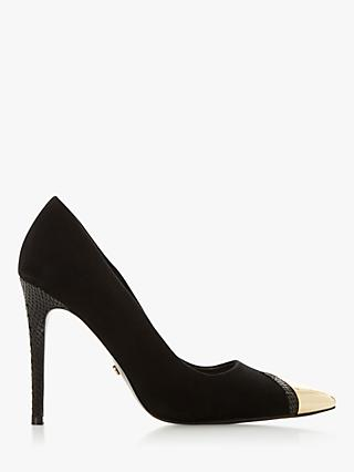 Dune Boutique Suede Stiletto Heel Court Shoes, Black