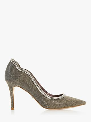 Dune Bountie Diamante Pointed Toe Court Shoes, Bronze