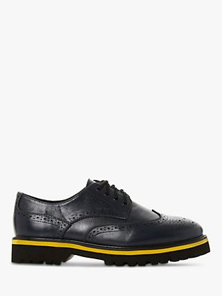 Dune Frederica Leather Lace Up Contrast Sole Brogues, Navy