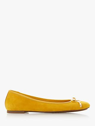 Dune Harpar Bow Detail Ballerina Pumps, Yellow