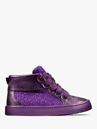 Clarks Junior City Oasis Glitter High Top Shoes, Purple