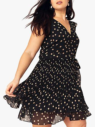 Oasis Curve Pleated Spot Dress, Multi Black
