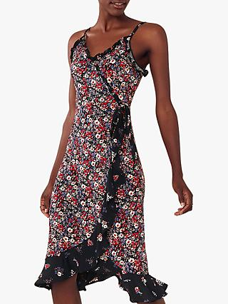 Oasis Patch Floral Wrap Midi Dress, Multi