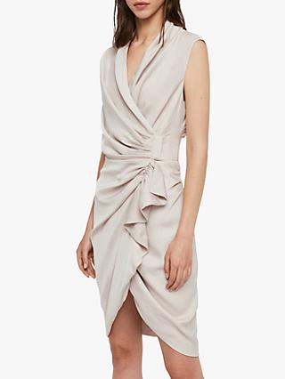 AllSaints Cancity Gathered Dress, Pale Pink