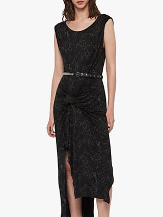 AllSaints Snakecharm Riviera Dress, Black