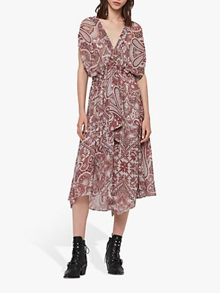 AllSaints Romina Scarf Dress, Red/Multi